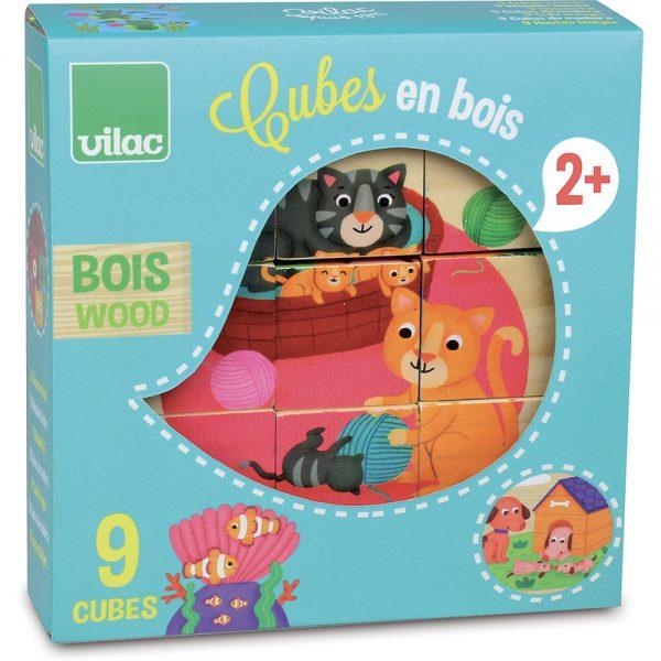 Cubes en bois animaux
